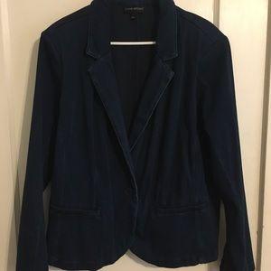 Lane Bryant denim blazer; 1 button, dark blue, 22W